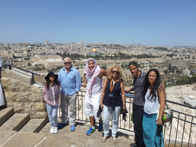 Mount of Olives and view of the old city with Shanae, Christophe, Gemal, Jon and Mai