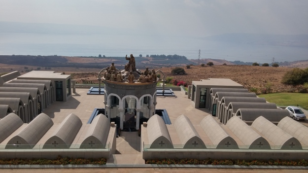 Domus Galilaeae roof and terrasse overlooking the Sea of Galilee